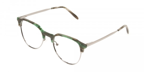 Silver & Marble Jade Green clubmaster classic glasses - 3