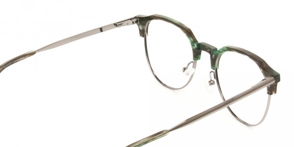 Silver & Marble Jade Green clubmaster classic glasses - 5