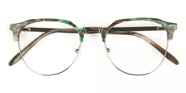 Silver & Marble Jade Green clubmaster classic glasses - 6