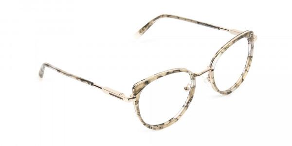 Amber Tortoise Cat-Eye Glasses in Round - 2
