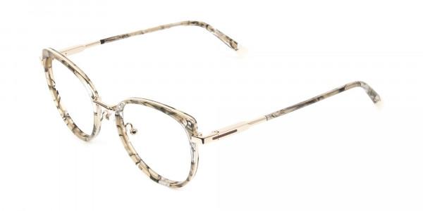Amber Tortoise Cat-Eye Glasses in Round- 3