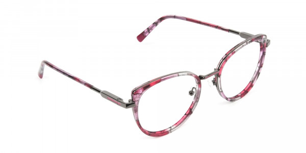 Red Tortoise Cat-Eye Glasses in Round - 2