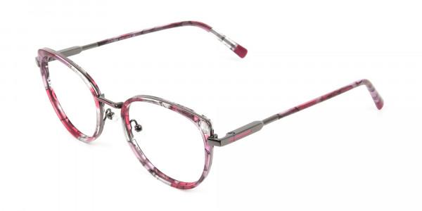 Red Tortoise Cat-Eye Glasses in Round - 3