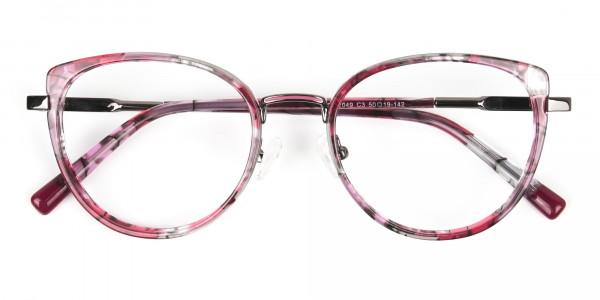 Red Tortoise Cat-Eye Glasses in Round - 6