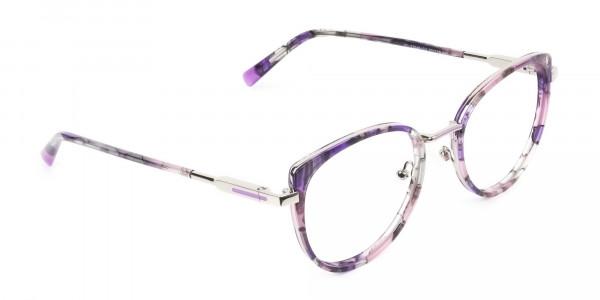 Purple Tortoise Cat-Eye Round Glasses - 3