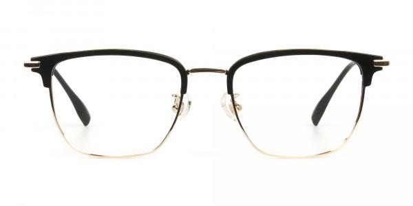 Wayfarer Browline Gold & Black Large Frame Glasses - 1