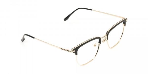 Wayfarer Browline Gold & Black Large Frame Glasses - 2