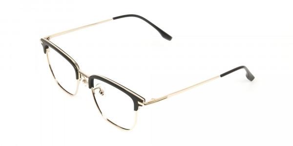 Wayfarer Browline Gold & Black Large Frame Glasses - 3