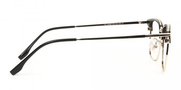 Wayfarer Browline Gold & Black Large Frame Glasses - 4