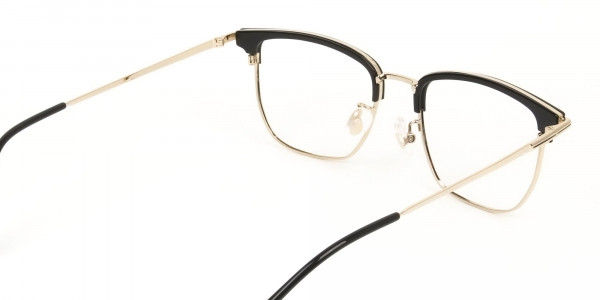 Wayfarer Browline Gold & Black Large Frame Glasses - 5