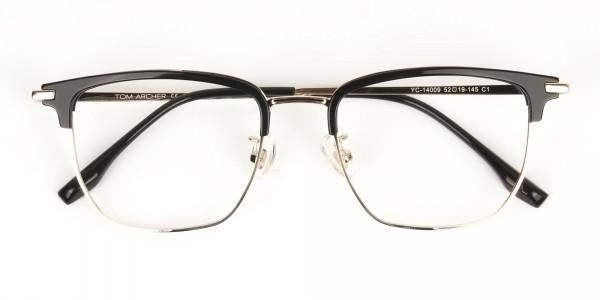 Wayfarer Browline Gold & Black Large Frame Glasses - 7