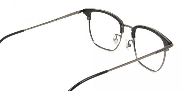 Wayfarer Browline Black & Gunmetal Large Frame Glasses - 5