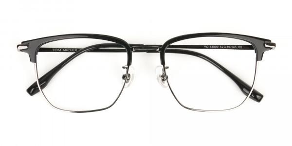 Wayfarer Browline Black & Gunmetal Large Frame Glasses - 7
