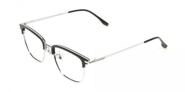 Wayfarer Browline Black & Silver Large Frame Glasses - 3