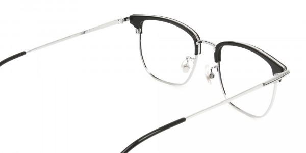 Wayfarer Browline Black & Silver Large Frame Glasses - 5