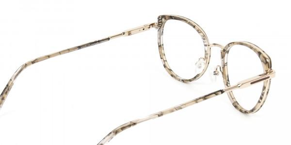 Amber Tortoise Cat-Eye Glasses in Round - 5