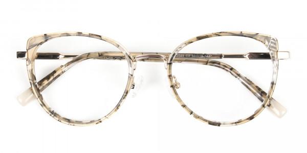 Amber Tortoise Cat-Eye Glasses in Round - 7