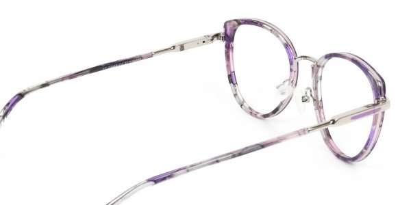 Purple Tortoise Cat-Eye Round Glasses - 5