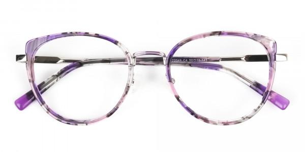 Purple Tortoise Cat-Eye Round Glasses- 7
