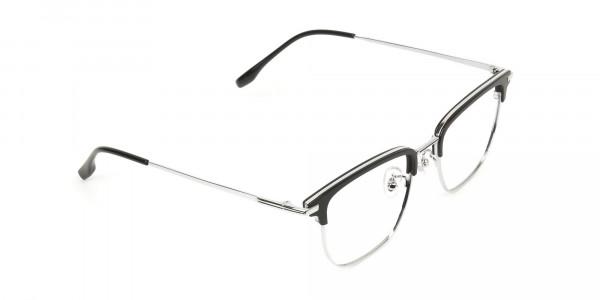 Wayfarer Browline Black & Silver Large Frame Glasses - 2