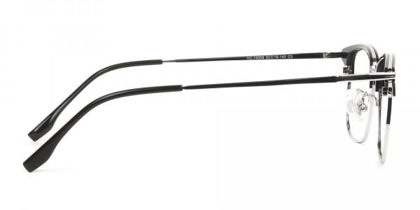 Wayfarer Browline Black & Silver Large Frame Glasses - 4