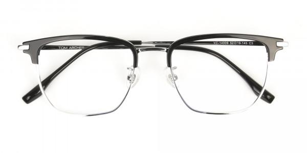 Wayfarer Browline Black & Silver Large Frame Glasses - 7