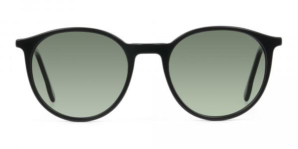 Dark-green-black-round-sunglasses - 1