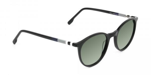 Dark-green-black-round-sunglasses - 2