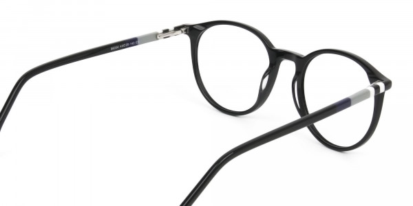 Designer Black Acetate Eyeglasses in Round Men Women - 5