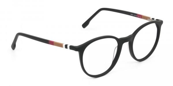 Designer Matte Black Acetate Eyeglasses in Round - 2