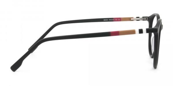 Designer Matte Black Acetate Eyeglasses in Round - 4
