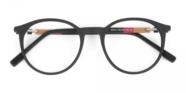 Designer Matte Black Acetate Eyeglasses in Round - 6