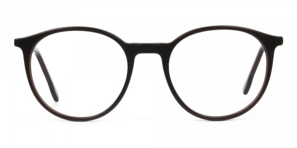 Designer Dark Brown Acetate Eyeglasses in Round - 1