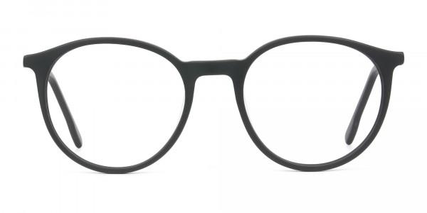 Designer Matte Black & Silver Grey Eyeglasses - 1