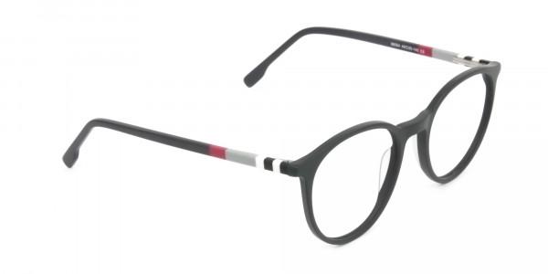 Designer Matte Black & Silver Grey Eyeglasses - 2