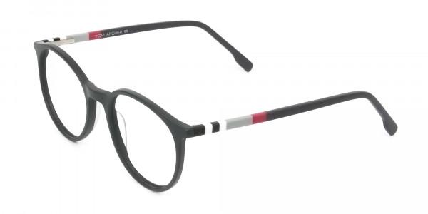 Designer Matte Black & Silver Grey Eyeglasses - 3