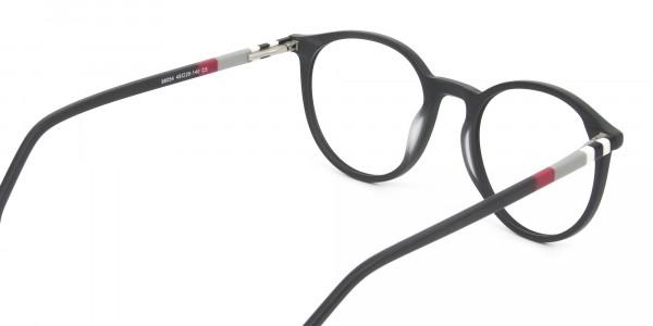 Designer Matte Black & Silver Grey Eyeglasses - 5