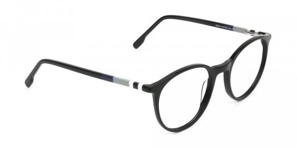 Designer Black Acetate Eyeglasses in Round Men Women - 2