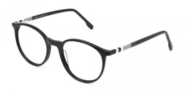 Designer Black Acetate Eyeglasses in Round Men Women - 3