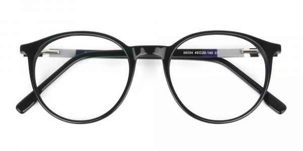 Designer Black Acetate Eyeglasses in Round Men Women - 6