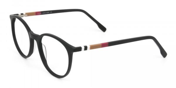 Designer Matte Black Acetate Eyeglasses in Round - 3