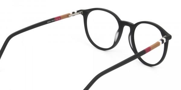 Designer Matte Black Acetate Eyeglasses in Round - 5
