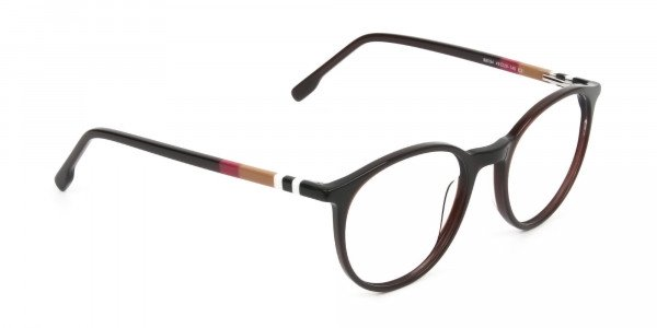 Designer Dark Brown Acetate Eyeglasses in Round - 2