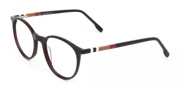 Designer Dark Brown Acetate Eyeglasses in Round - 3