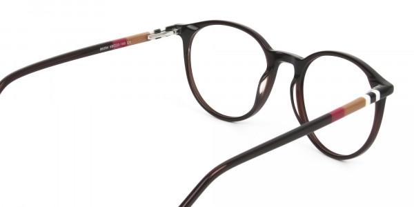 Designer Dark Brown Acetate Eyeglasses in Round - 5
