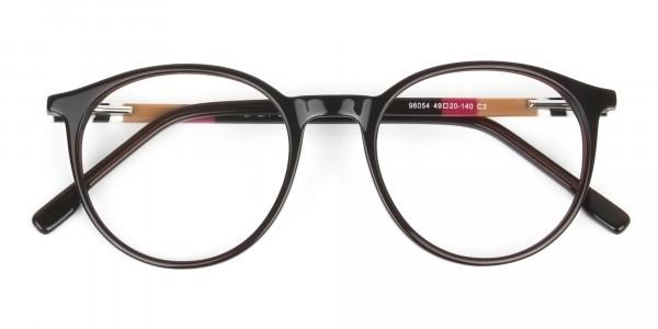 Designer Dark Brown Acetate Eyeglasses in Round - 6