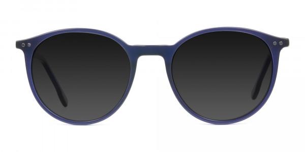 dark-grey-tinted-navy-blue-round-sunglasses - 1
