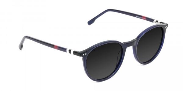 dark-grey-tinted-navy-blue-round-sunglasses - 2
