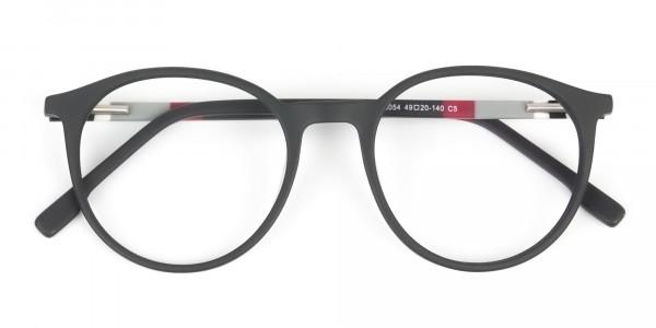 Designer Matte Black & Silver Grey Eyeglasses - 6