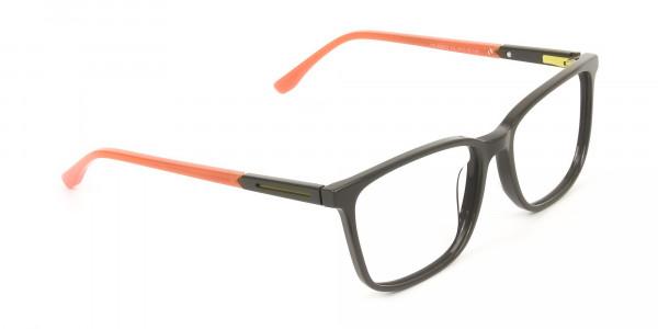 Sporty Nerd Rectangular Grey Orange Frame Glasses - 2